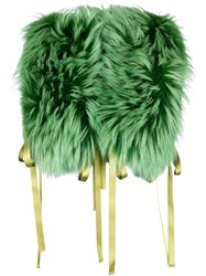 Dsquared2 Raccoon Fur Stole Green