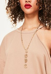 Missguided Gold Love Slogan Necklace