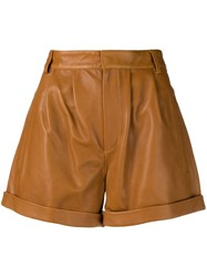 Federica Tosi Leather Shorts Brown