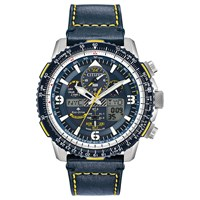 Citizen Jy8078 01L 'S Promaster Skyhawk At Chronograph Eco Drive Leather Strap Watch Navy