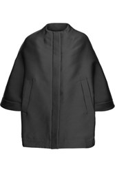 Valentino Convertible Duchesse Satin Coat Black