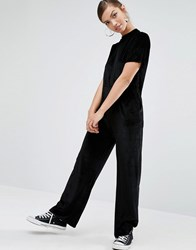 Daisy Street Relaxed Minimal Jumpsuit In Velvet Black