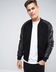 Asos Suede Bomber Jacket With Leather Sleeves In Black Black