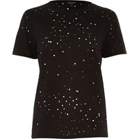 River Island Womens Black Studded Nibbled T Shirt
