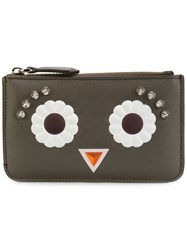 Fendi Faces Keyring Pouch Women Leather One Size Brown