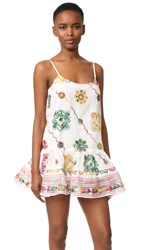 Juliet Dunn Embroidered Cover Up Dress White Multi