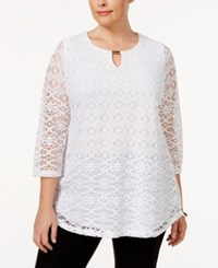 Jm Collection Plus Size Lace Keyhole Tunic Only At Macy's Bright White