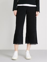 Mini Cream Logo Embroidered Wide Leg High Rise Corduroy Trousers Black