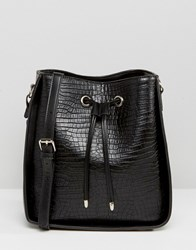 Glamorous Cross Body Bag With Drawstring Tie Black Croc