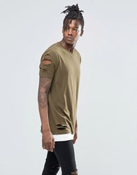Asos Longline T Shirt With Rips And Slash Distress With Contrast Hem In Khaki Battlefield Green