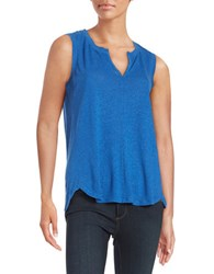 Lord And Taylor Split Neck Tank True Blue