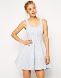 Asos Structured Skater Dress In Jacquard Knit Bluewhite