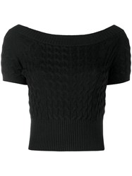 Alexander Mcqueen Cropped Knitted Top Black