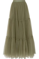 Brunello Cucinelli Tiered Bead Embellished Tulle Skirt Green