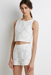Forever 21 Textured Rose Pattern Shorts Cream