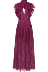 Philosophy Di Lorenzo Serafini Open Back Ruffled Plisse Lace Dress Plum