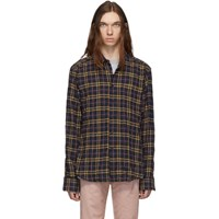 Naked And Famous Denim Navy Pink Easy Folk Flannel Shirt