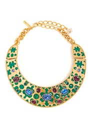 Oscar De La Renta Crystal Embellished Necklace Green