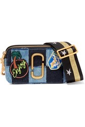Marc Jacobs Snapshot Leather Trimmed Patchwork Denim Shoulder Bag Blue
