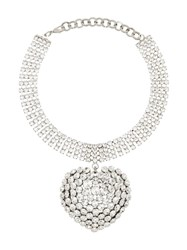 Alessandra Rich Embellished Drop Heart Choker Metallic