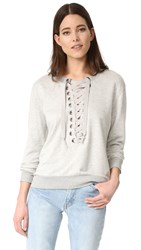 David Lerner Lace Up Sweatshirt Light Heather Grey