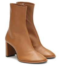 The Row Teatime Leather Ankle Boots Brown