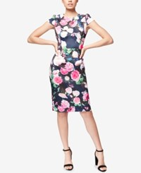 Betsey Johnson Floral Print Sheath Dress Navy Pink