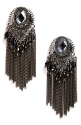 Natasha Couture Women's Beaded Fringe Earrings