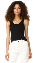 Three Dots Ribbed Tank Black