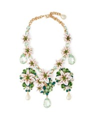 Dolce And Gabbana Lily Crystal Embellished Necklace Gold