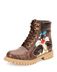 Looney Tunes Leather Hiking Boot Brown Multi Moschino