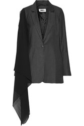 Maison Martin Margiela Mm6 Chiffon Paneled Wool Blend Blazer Charcoal