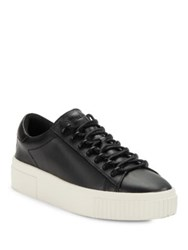 Kendall Kylie Reese Leather Lace Up Platform Sneakers White