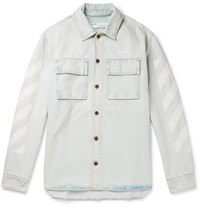 Off White Oversized Embroidered Denim Shirt Blue