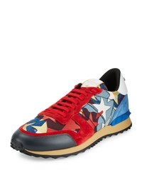 Valentino Rockrunner Camo And Star Print Denim Sneaker Blue Red