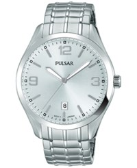 Pulsar Men's Traditional Stainless Steel Expansion Bracelet Watch 41Mm Ps9491 Silver