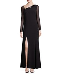 Laundry By Shelli Segal Platinum Beaded Asymmetrical Gown Black