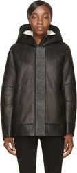 Helmut Lang Black Leather Comal Shearling Jacket