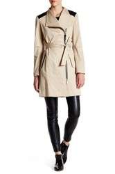 Mackage Genuine Leather Trim Asymmetrical Zip Trench Beige