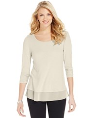 Styleandco. Style And Co. Petite Chiffon Hem Three Quarter Sleeve Top Only At Macy's Dark Rose