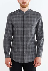 Shades Of Grey By Micah Cohen Band Collar Brushed Plaid Button Down Shirt