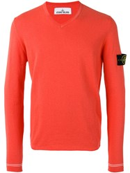 Stone Island V Neck Logo Patch Jumper Men Cotton M Yellow Orange