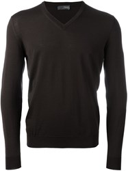 Drumohr V Neck Fine Knit Jumper Brown