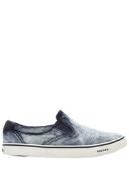 Diesel Ripped Denim Slip On Sneakers