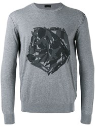 Z Zegna Fox Print Sweatshirt Grey