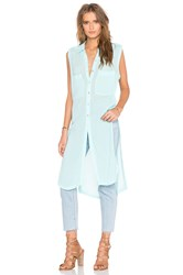 Bobi Gauze Button Up Sleeveless Mini Dress Turquoise