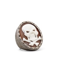 Diamond Trim Hand Carved Skull Cameo Ring Amedeo