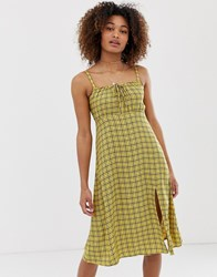 Hollister Babydoll Midi Dress In Check Yellow
