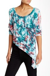 Go Couture Asymmetrical Baby Hacci Long Sleeve Tie Dye Tee Multi