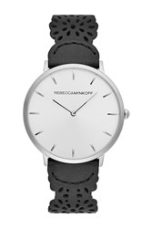 Rebecca Minkoff Major Etched Leather Strap Watch 40Mm Silver
